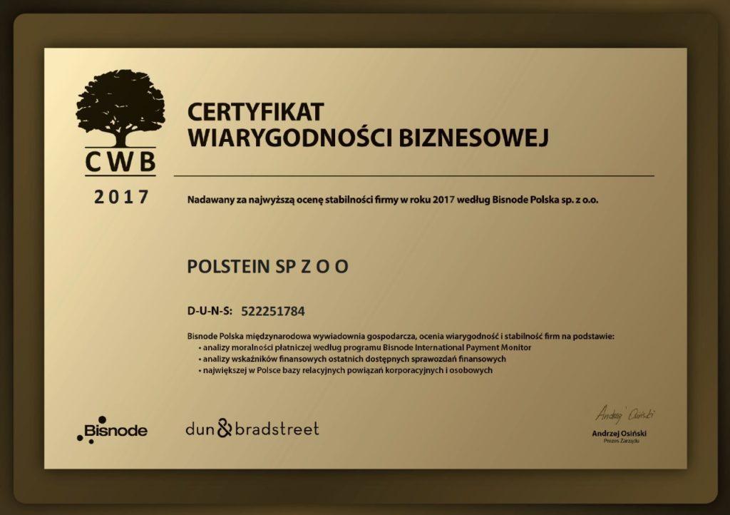 Certyfikat wiarygodności biznesowej Polstein